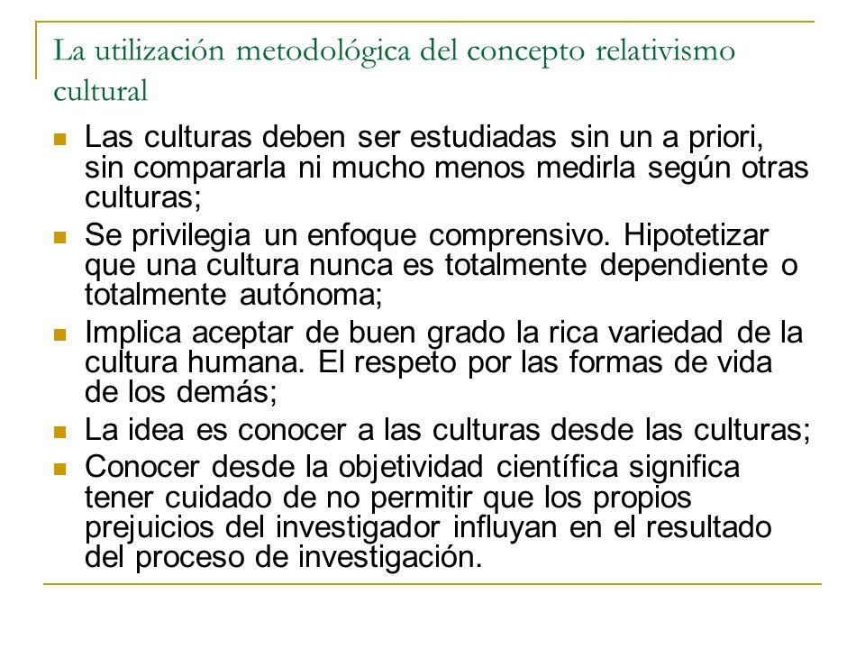 La utilización metodológica del concepto relativismo cultural Las culturas deben ser estudiadas sin un a priori, sin compararla ni mucho menos medirla