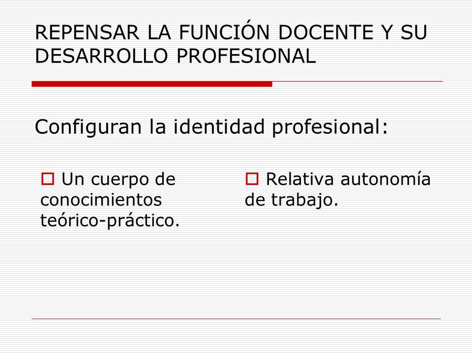 REPENSAR LA FUNCIÓN DOCENTE Y SU DESARROLLO PROFESIONAL Configuran la identidad profesional: Un cuerpo de conocimientos teórico-práctico. Relativa aut