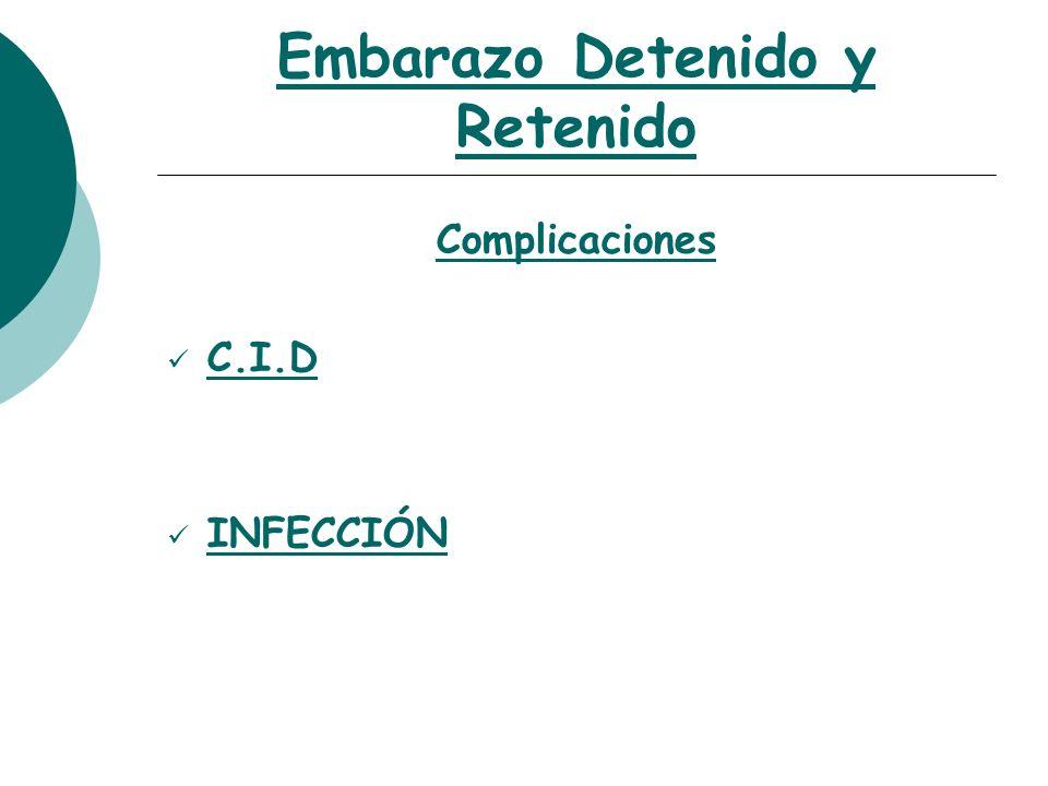 Embarazo Detenido y Retenido Conducta o Internación o H.M.R : Raspado Evacuador o F.M.R : *Laboratorio *Maduración Cervical *Extracción fetal según resultado de Inducción