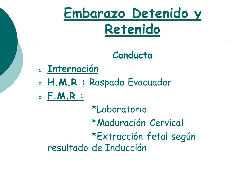 Embarazo Detenido y Retenido Casos Clínicos F.M y Cuello Inmaduro .
