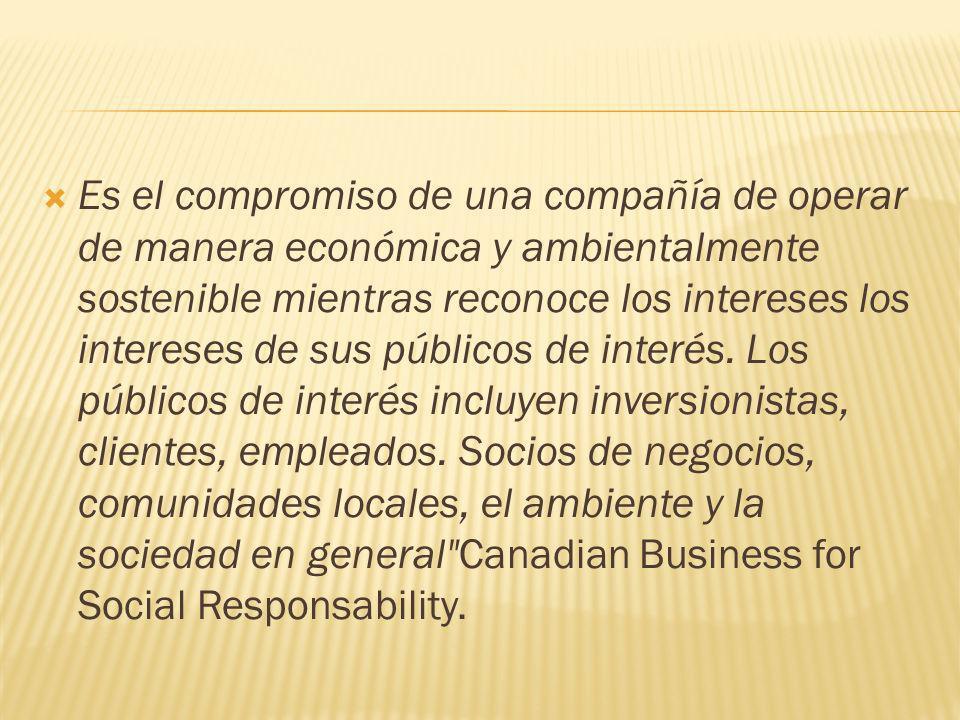 Es el compromiso de una compañía de operar de manera económica y ambientalmente sostenible mientras reconoce los intereses los intereses de sus públic