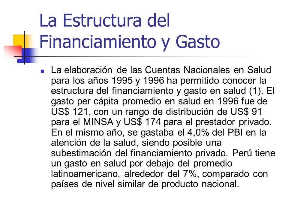 La Estructura del Financiamiento y Gasto La elaboración de las Cuentas Nacionales en Salud para los años 1995 y 1996 ha permitido conocer la estructur