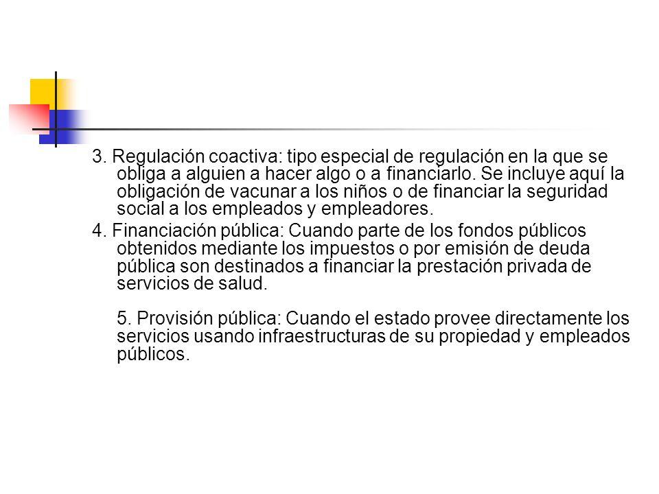 3. Regulación coactiva: tipo especial de regulación en la que se obliga a alguien a hacer algo o a financiarlo. Se incluye aquí la obligación de vacun