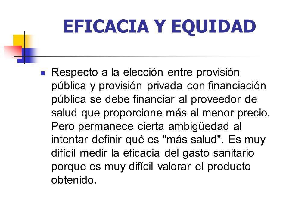 EFICACIA Y EQUIDAD Respecto a la elección entre provisión pública y provisión privada con financiación pública se debe financiar al proveedor de salud