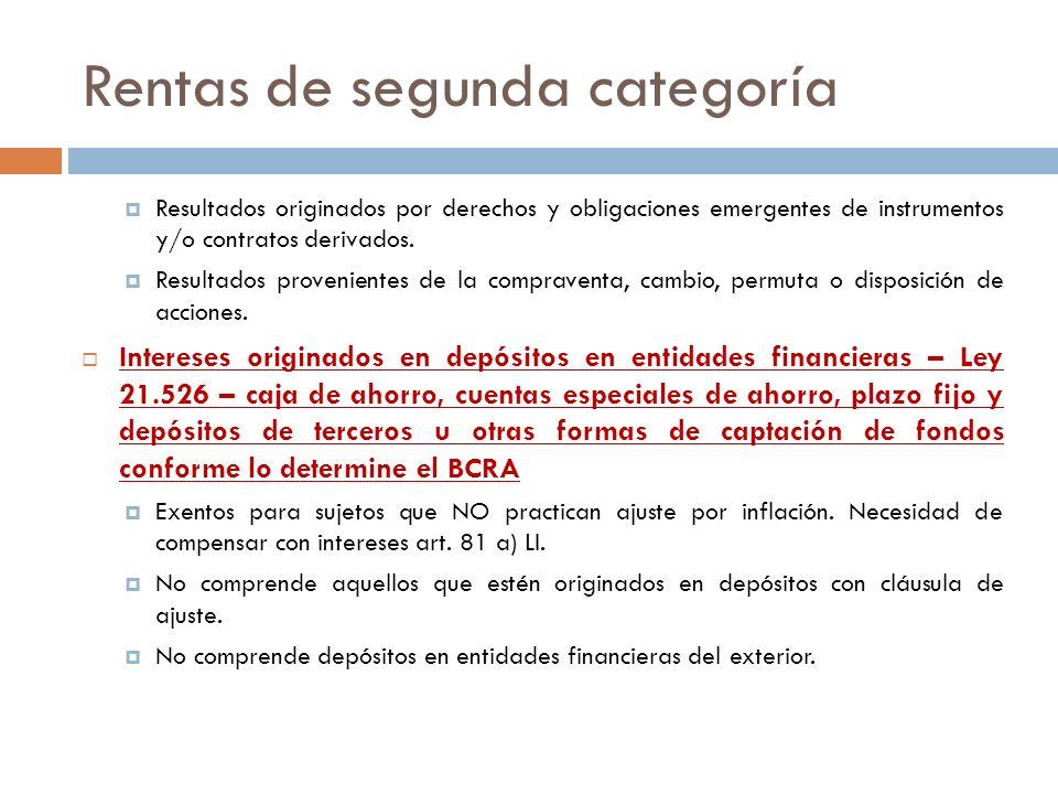 Rentas de segunda categoría Resultados originados por derechos y obligaciones emergentes de instrumentos y/o contratos derivados. Resultados provenien