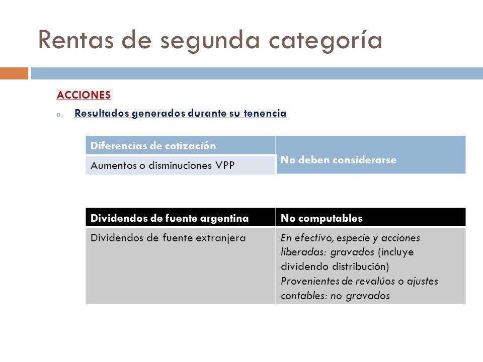 Rentas de segunda categoría ACCIONES a. Resultados generados durante su tenencia Diferencias de cotización No deben considerarse Aumentos o disminucio