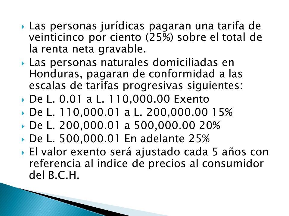 Las personas jurídicas pagaran una tarifa de veinticinco por ciento (25%) sobre el total de la renta neta gravable. Las personas naturales domiciliada