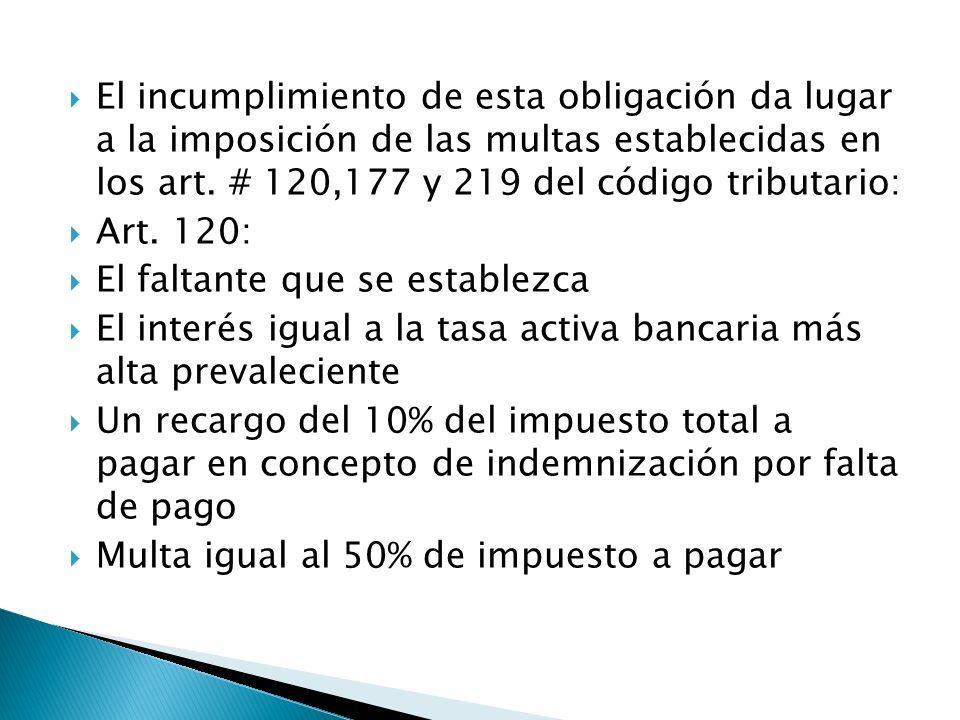 El incumplimiento de esta obligación da lugar a la imposición de las multas establecidas en los art. # 120,177 y 219 del código tributario: Art. 120: