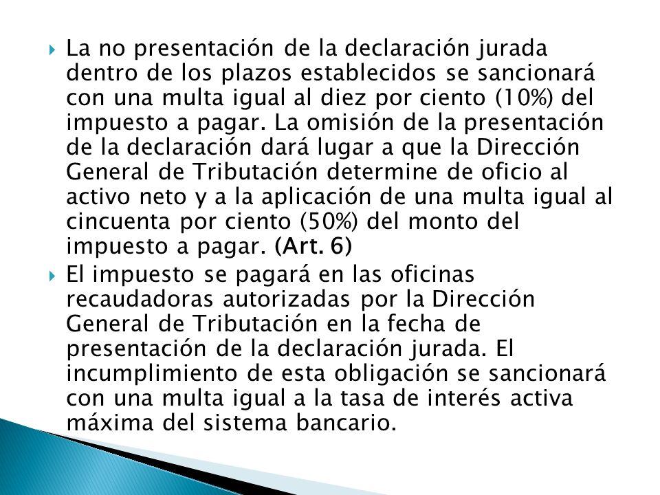 La no presentación de la declaración jurada dentro de los plazos establecidos se sancionará con una multa igual al diez por ciento (10%) del impuesto