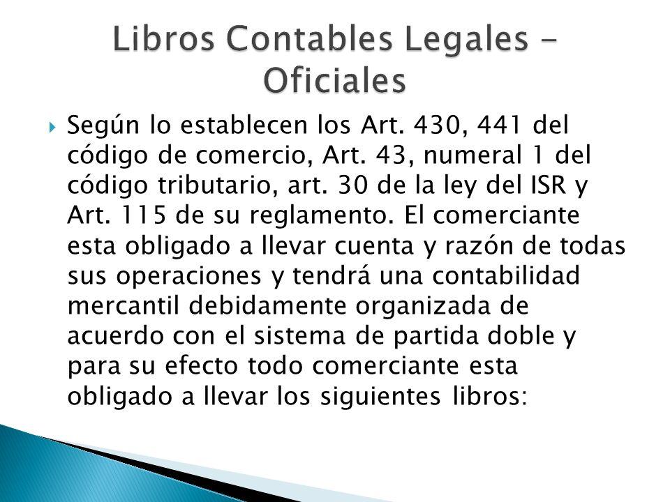 Según lo establecen los Art. 430, 441 del código de comercio, Art. 43, numeral 1 del código tributario, art. 30 de la ley del ISR y Art. 115 de su reg