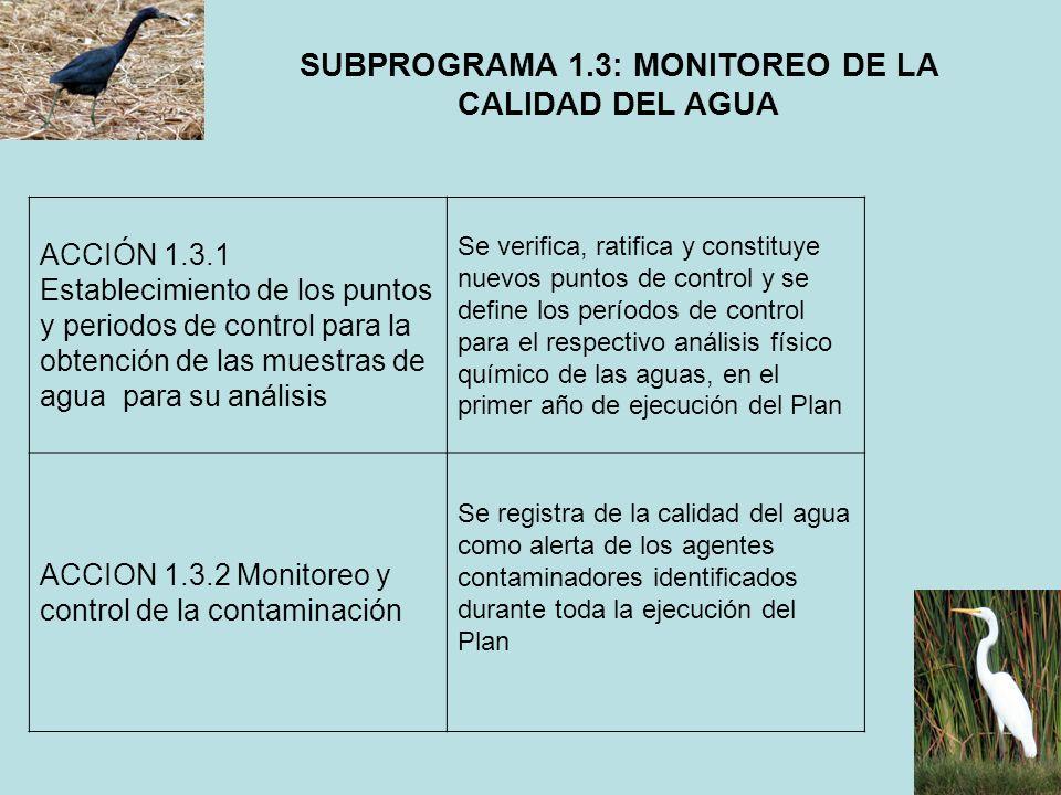 SUBPROGRAMA 1.3: MONITOREO DE LA CALIDAD DEL AGUA ACCIÓN 1.3.1 Establecimiento de los puntos y periodos de control para la obtención de las muestras d