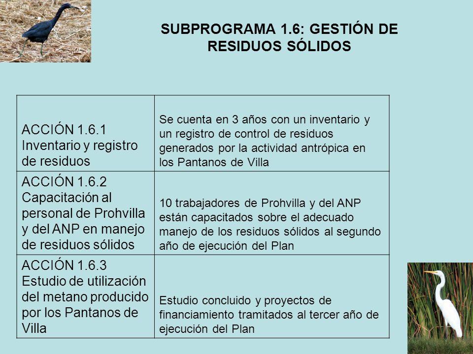 SUBPROGRAMA 1.6: GESTIÓN DE RESIDUOS SÓLIDOS ACCIÓN 1.6.1 Inventario y registro de residuos Se cuenta en 3 años con un inventario y un registro de con