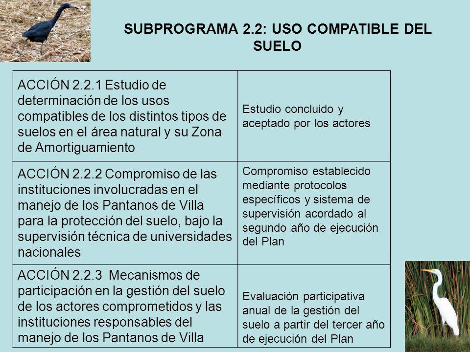 SUBPROGRAMA 2.2: USO COMPATIBLE DEL SUELO ACCIÓN 2.2.1 Estudio de determinación de los usos compatibles de los distintos tipos de suelos en el área na