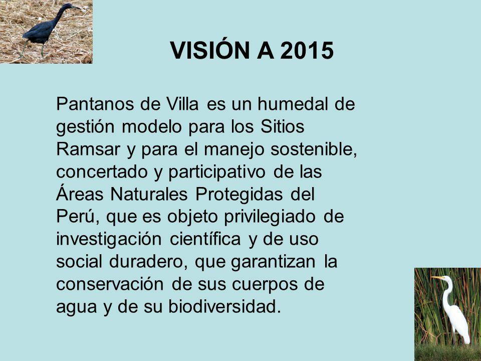 VISIÓN A 2015 Pantanos de Villa es un humedal de gestión modelo para los Sitios Ramsar y para el manejo sostenible, concertado y participativo de las