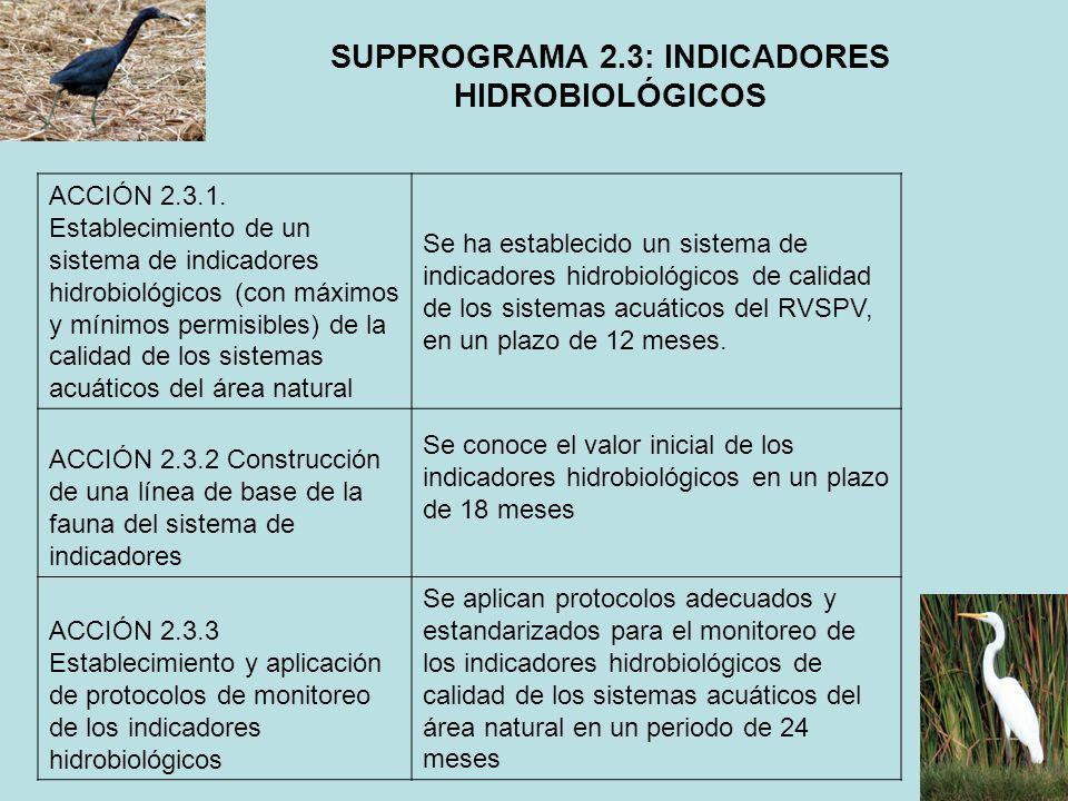 SUPPROGRAMA 2.3: INDICADORES HIDROBIOLÓGICOS ACCIÓN 2.3.1. Establecimiento de un sistema de indicadores hidrobiológicos (con máximos y mínimos permisi
