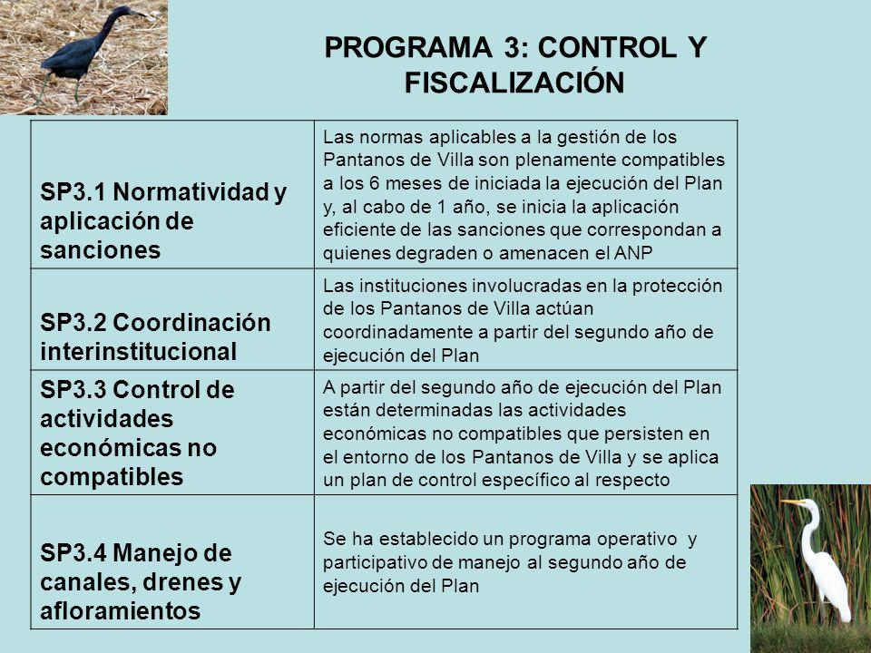 PROGRAMA 3: CONTROL Y FISCALIZACIÓN SP3.1 Normatividad y aplicación de sanciones Las normas aplicables a la gestión de los Pantanos de Villa son plena