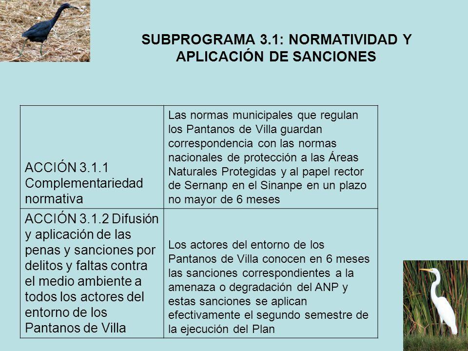 SUBPROGRAMA 3.1: NORMATIVIDAD Y APLICACIÓN DE SANCIONES ACCIÓN 3.1.1 Complementariedad normativa Las normas municipales que regulan los Pantanos de Vi