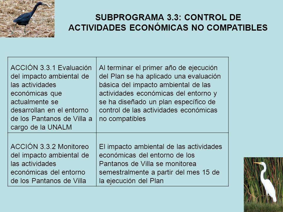 ACCIÓN 3.3.1 Evaluación del impacto ambiental de las actividades económicas que actualmente se desarrollan en el entorno de los Pantanos de Villa a ca