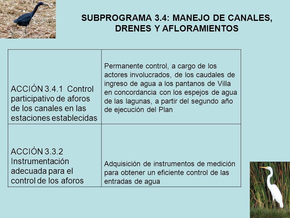 SUBPROGRAMA 3.4: MANEJO DE CANALES, DRENES Y AFLORAMIENTOS ACCIÓN 3.4.1 Control participativo de aforos de los canales en las estaciones establecidas
