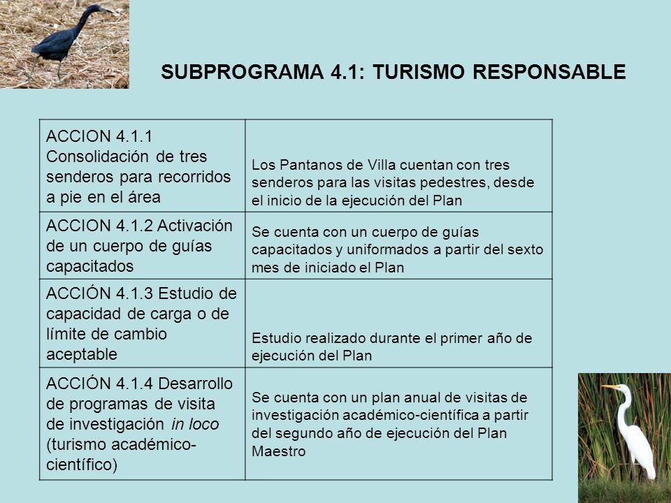 SUBPROGRAMA 4.1: TURISMO RESPONSABLE ACCION 4.1.1 Consolidación de tres senderos para recorridos a pie en el área Los Pantanos de Villa cuentan con tr
