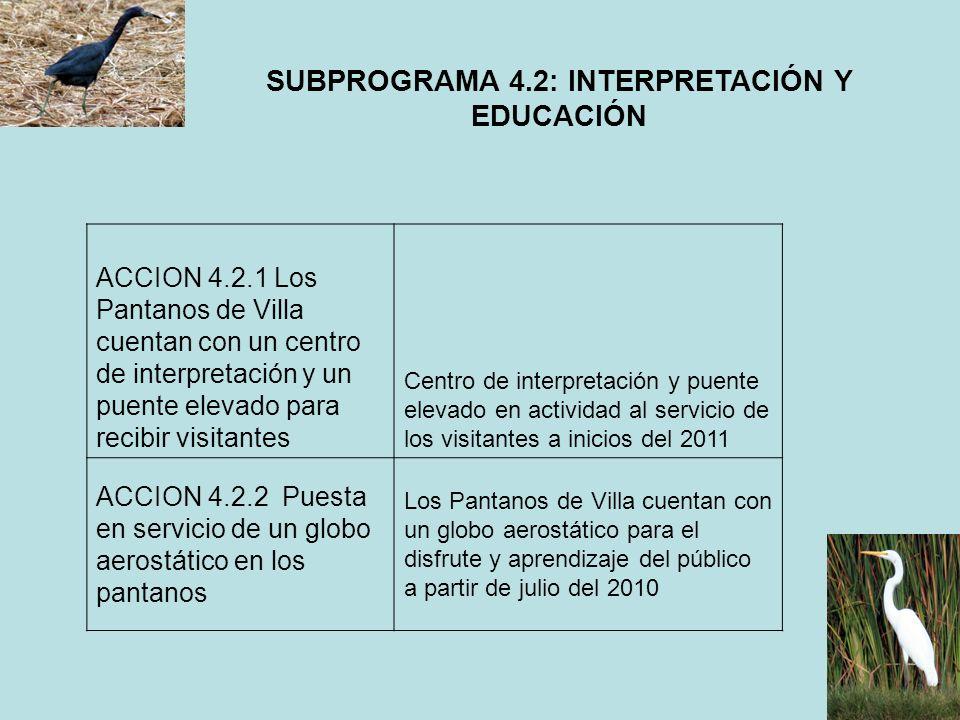 SUBPROGRAMA 4.2: INTERPRETACIÓN Y EDUCACIÓN ACCION 4.2.1 Los Pantanos de Villa cuentan con un centro de interpretación y un puente elevado para recibi