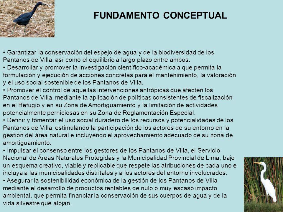FUNDAMENTO CONCEPTUAL Garantizar la conservación del espejo de agua y de la biodiversidad de los Pantanos de Villa, así como el equilibrio a largo pla