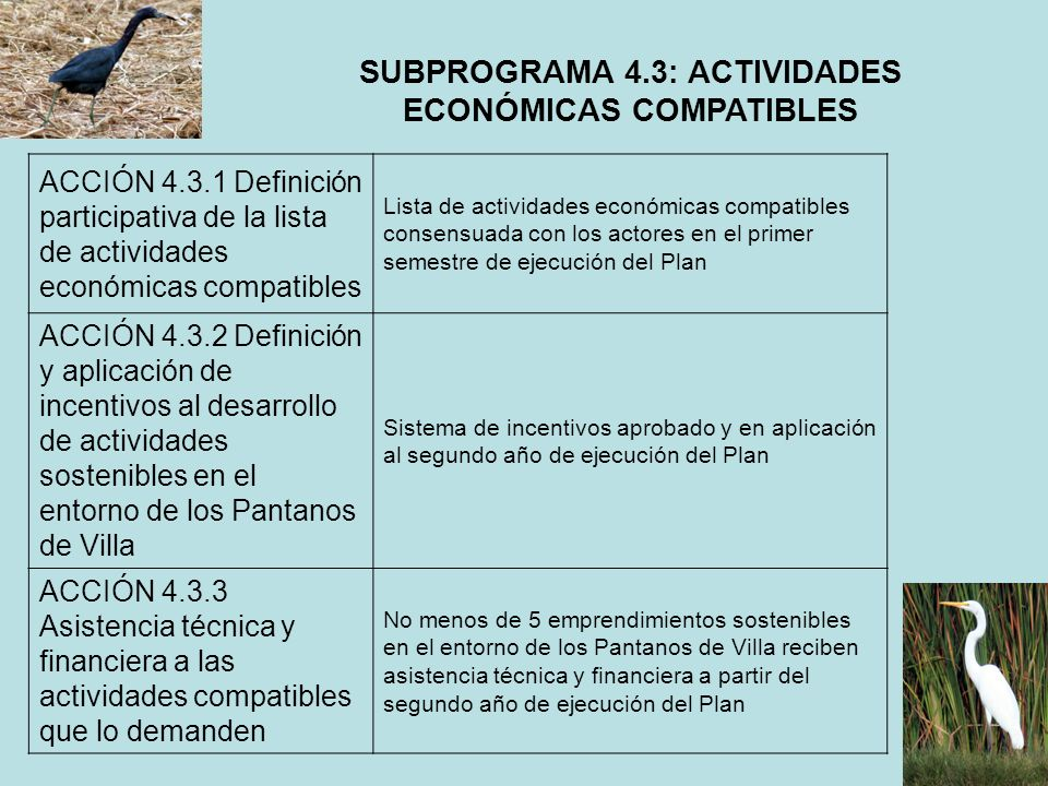 SUBPROGRAMA 4.3: ACTIVIDADES ECONÓMICAS COMPATIBLES ACCIÓN 4.3.1 Definición participativa de la lista de actividades económicas compatibles Lista de a