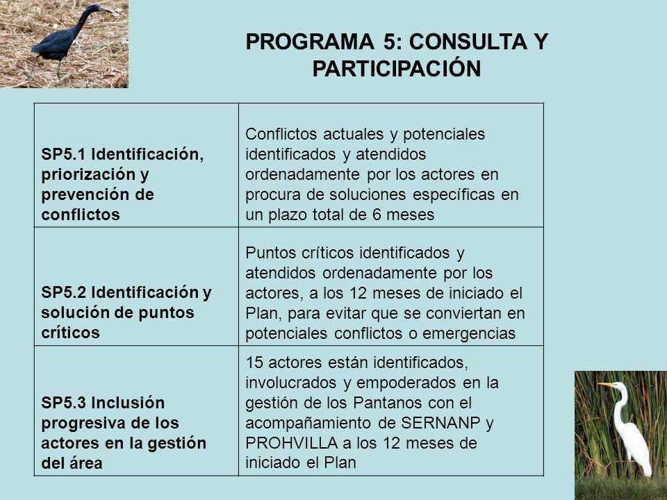 PROGRAMA 5: CONSULTA Y PARTICIPACIÓN SP5.1 Identificación, priorización y prevención de conflictos Conflictos actuales y potenciales identificados y a