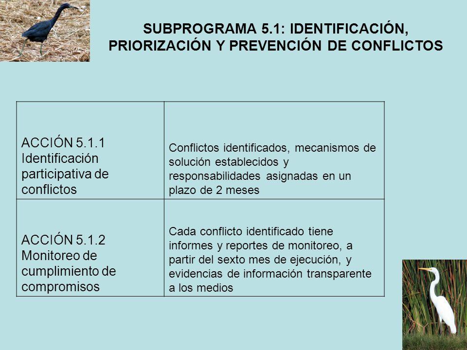 SUBPROGRAMA 5.1: IDENTIFICACIÓN, PRIORIZACIÓN Y PREVENCIÓN DE CONFLICTOS ACCIÓN 5.1.1 Identificación participativa de conflictos Conflictos identifica