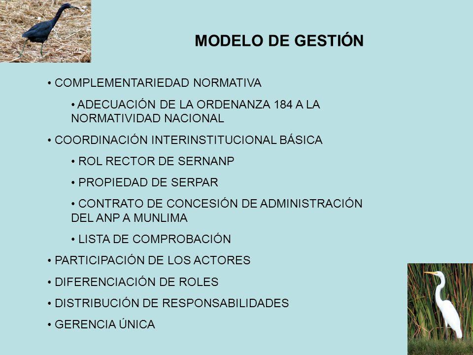 MODELO DE GESTIÓN COMPLEMENTARIEDAD NORMATIVA ADECUACIÓN DE LA ORDENANZA 184 A LA NORMATIVIDAD NACIONAL COORDINACIÓN INTERINSTITUCIONAL BÁSICA ROL REC