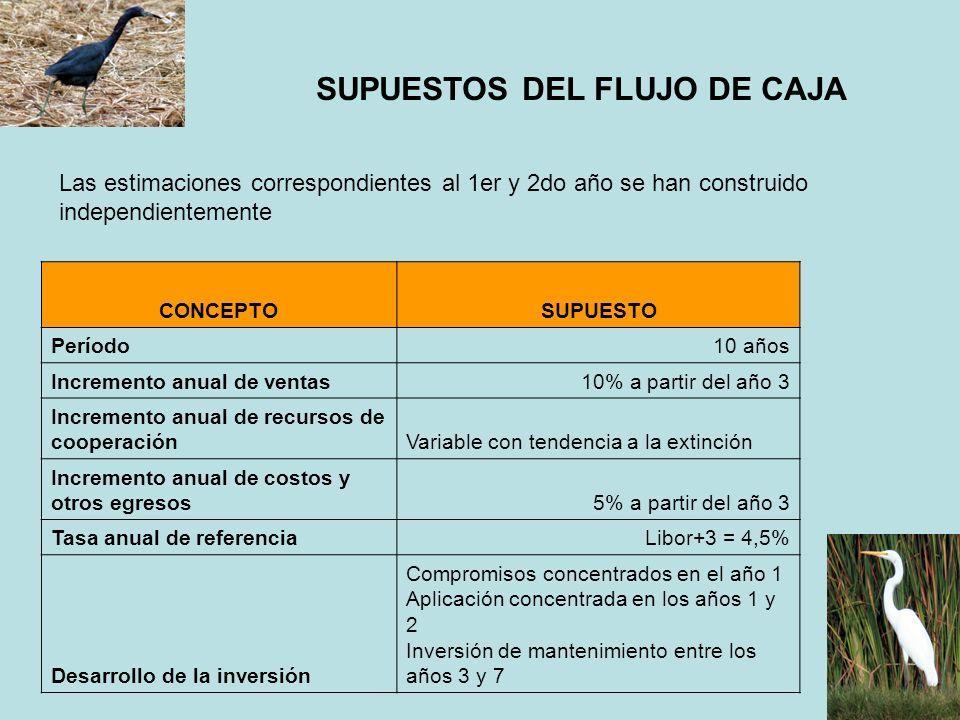 SUPUESTOS DEL FLUJO DE CAJA CONCEPTOSUPUESTO Período10 años Incremento anual de ventas10% a partir del año 3 Incremento anual de recursos de cooperaci