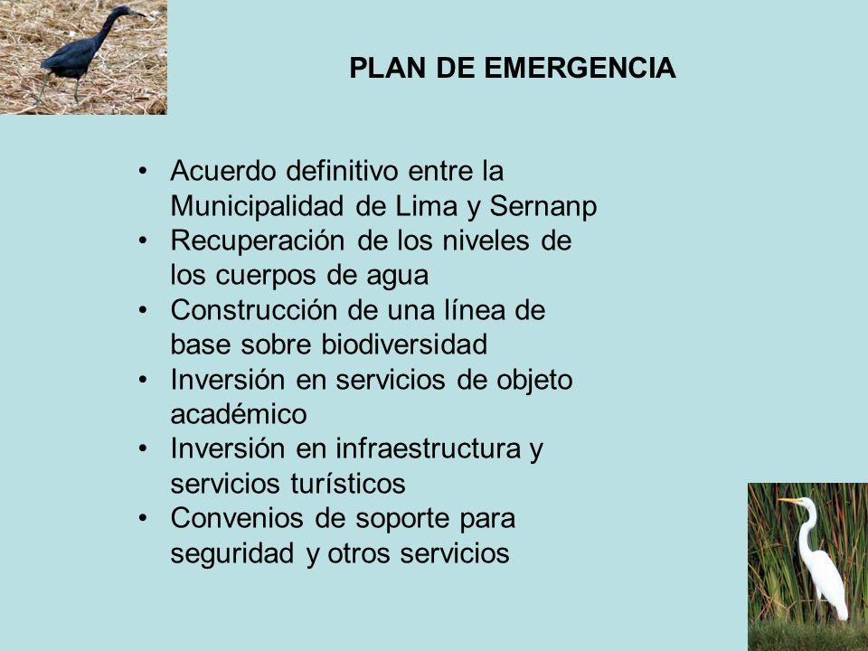 PLAN DE EMERGENCIA Acuerdo definitivo entre la Municipalidad de Lima y Sernanp Recuperación de los niveles de los cuerpos de agua Construcción de una