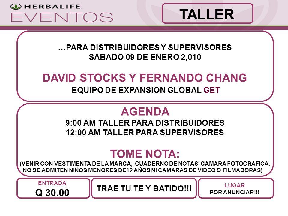 …PARA DISTRIBUIDORES Y SUPERVISORES SABADO 09 DE ENERO 2,010 DAVID STOCKS Y FERNANDO CHANG EQUIPO DE EXPANSION GLOBAL GET TRAE TU TE Y BATIDO!!.