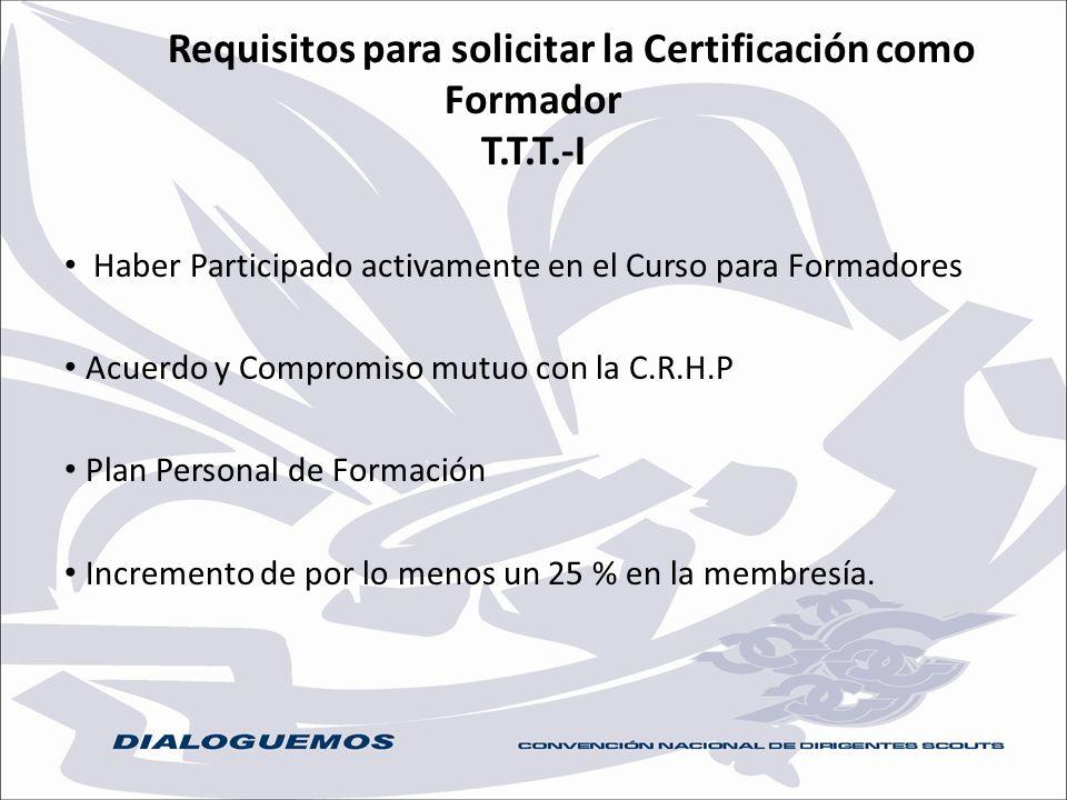 Requisitos para solicitar la Certificación como Formador T.T.T.-I Haber Participado activamente en el Curso para Formadores Acuerdo y Compromiso mutuo