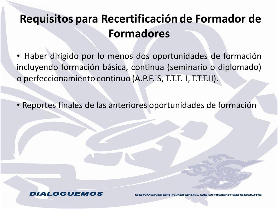 Requisitos para Recertificación de Formador de Formadores Haber dirigido por lo menos dos oportunidades de formación incluyendo formación básica, cont