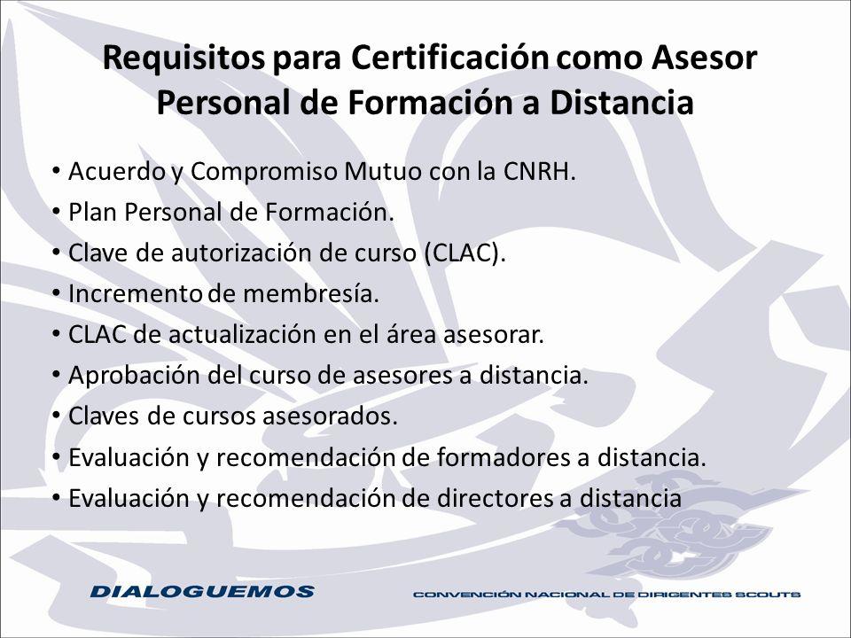 Requisitos para Certificación como Asesor Personal de Formación a Distancia Acuerdo y Compromiso Mutuo con la CNRH. Plan Personal de Formación. Clave