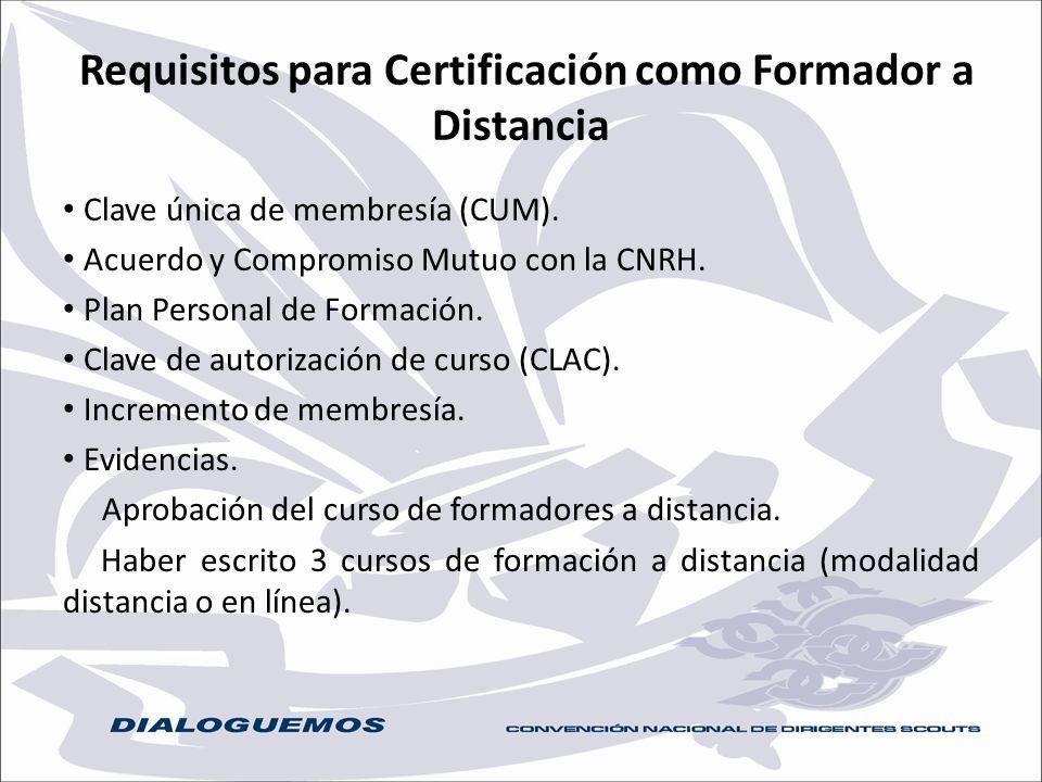 Requisitos para Certificación como Formador a Distancia Clave única de membresía (CUM). Acuerdo y Compromiso Mutuo con la CNRH. Plan Personal de Forma