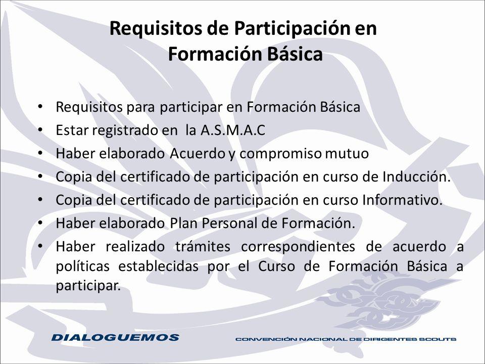 Requisitos de Participación en Formación Básica Requisitos para participar en Formación Básica Estar registrado en la A.S.M.A.C Haber elaborado Acuerd