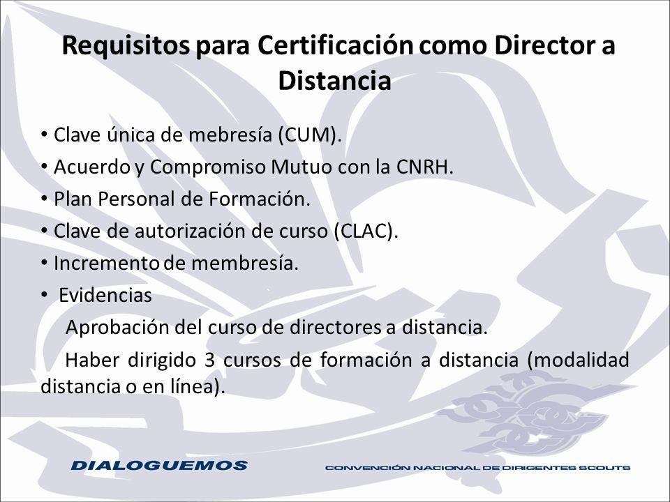 Requisitos para Certificación como Director a Distancia Clave única de mebresía (CUM). Acuerdo y Compromiso Mutuo con la CNRH. Plan Personal de Formac