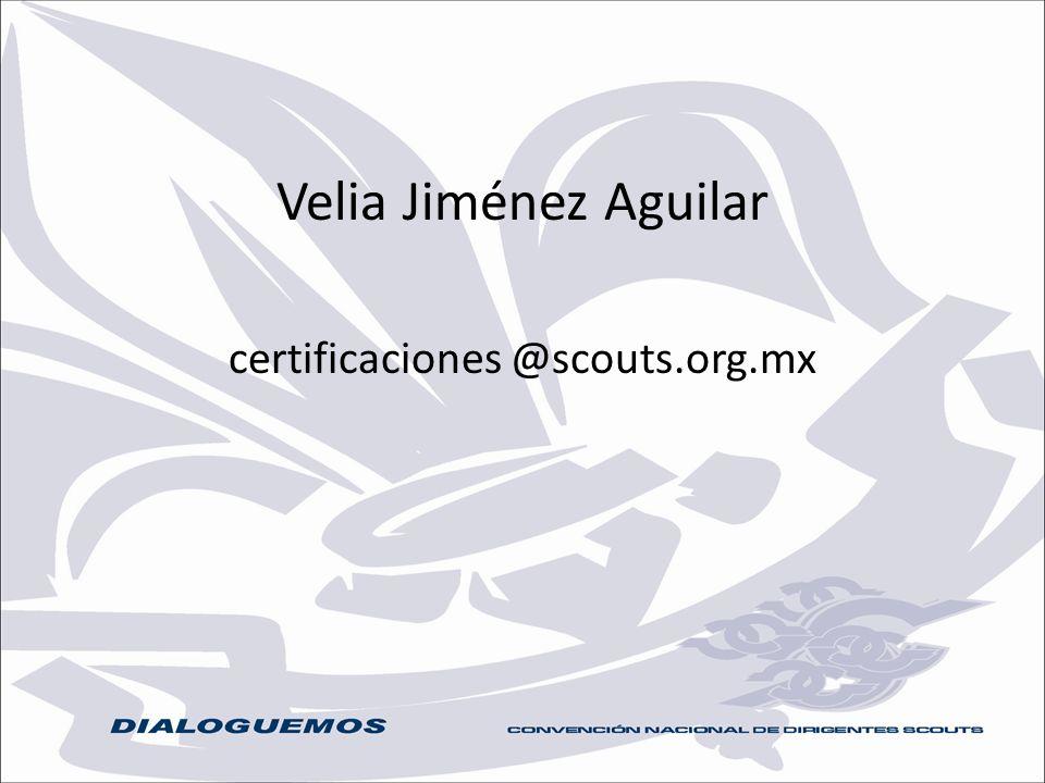 Velia Jiménez Aguilar certificaciones @scouts.org.mx