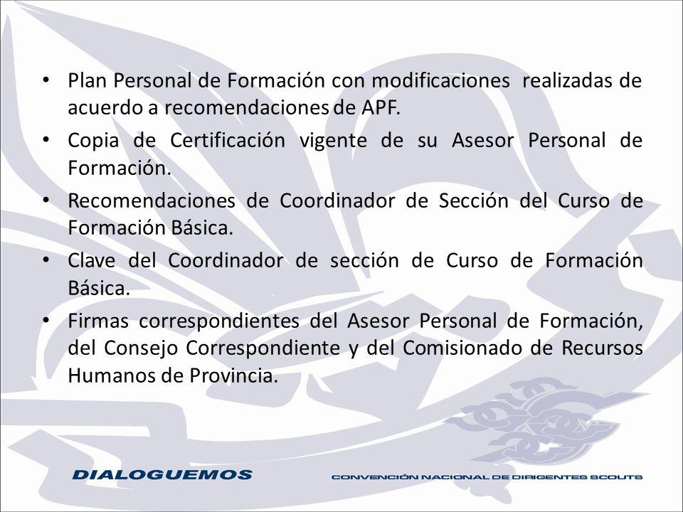 Plan Personal de Formación con modificaciones realizadas de acuerdo a recomendaciones de APF. Copia de Certificación vigente de su Asesor Personal de