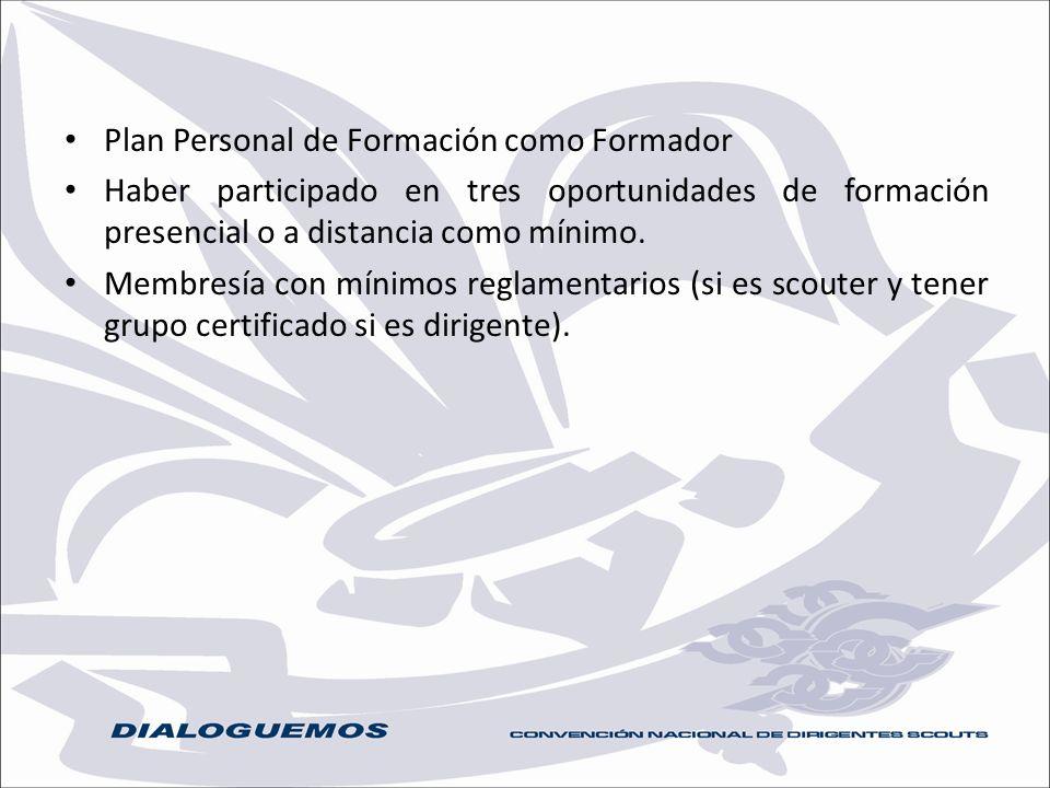 Plan Personal de Formación como Formador Haber participado en tres oportunidades de formación presencial o a distancia como mínimo. Membresía con míni