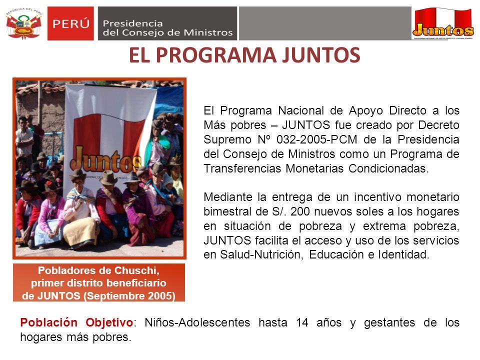 Pobladores de Chuschi, primer distrito beneficiario de JUNTOS (Septiembre 2005) El Programa Nacional de Apoyo Directo a los Más pobres – JUNTOS fue cr