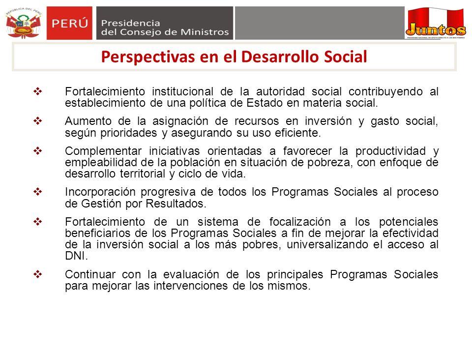 Perspectivas en el Desarrollo Social Fortalecimiento institucional de la autoridad social contribuyendo al establecimiento de una política de Estado e