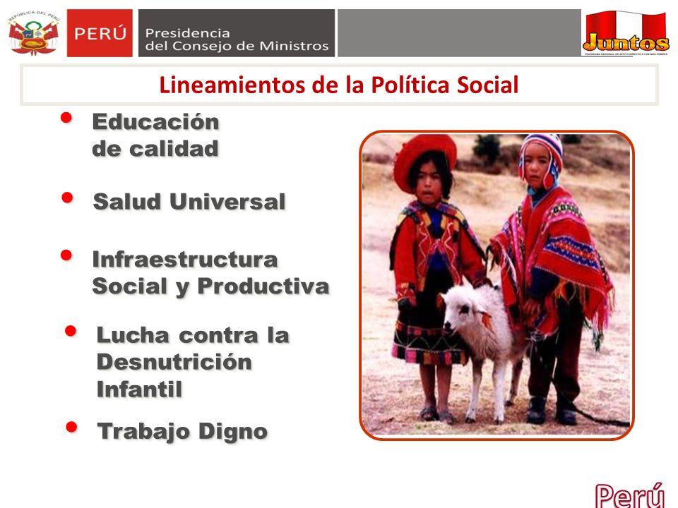 Educación de calidad Educación de calidad Salud Universal Salud Universal Infraestructura Social y Productiva Infraestructura Social y Productiva Trab