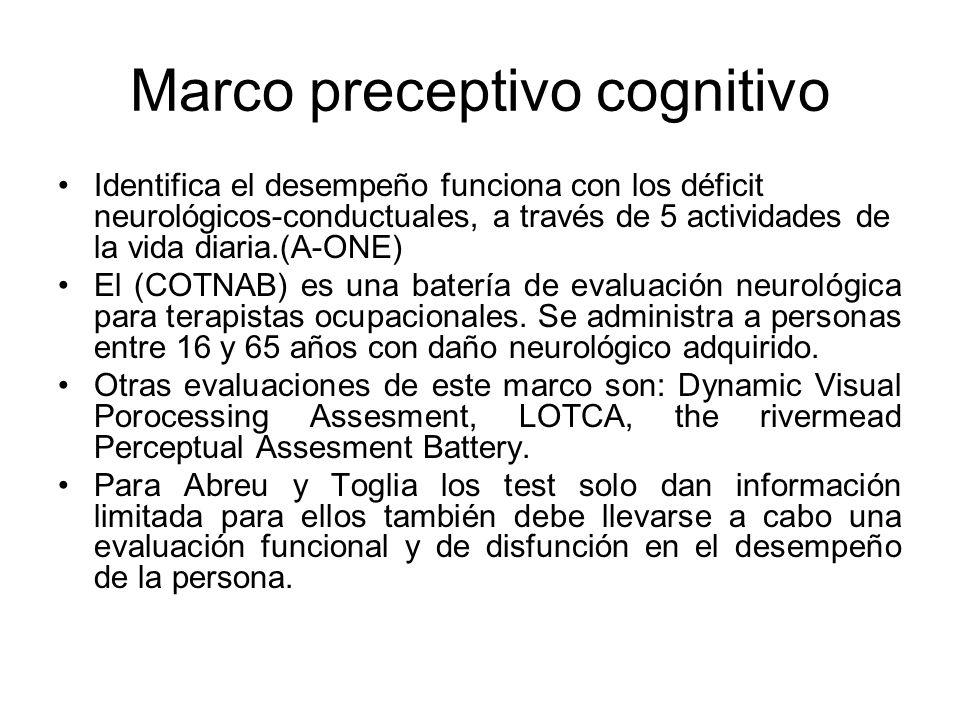 Marco preceptivo cognitivo Identifica el desempeño funciona con los déficit neurológicos-conductuales, a través de 5 actividades de la vida diaria.(A-