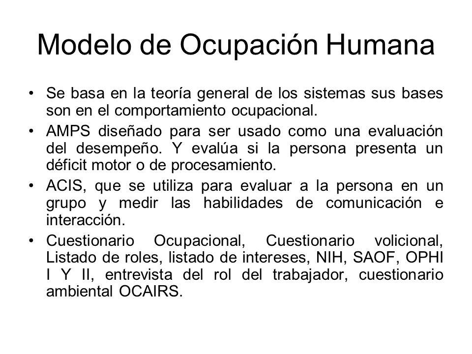 Modelo de Ocupación Humana Se basa en la teoría general de los sistemas sus bases son en el comportamiento ocupacional. AMPS diseñado para ser usado c