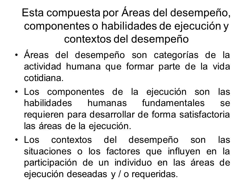 Esta compuesta por Áreas del desempeño, componentes o habilidades de ejecución y contextos del desempeño Áreas del desempeño son categorías de la acti