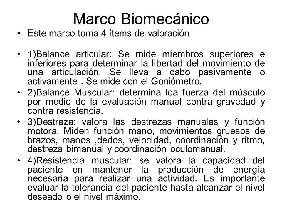 Marco Biomecánico Este marco toma 4 ítems de valoración : 1)Balance articular: Se mide miembros superiores e inferiores para determinar la libertad de