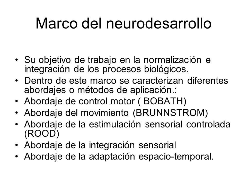 Marco del neurodesarrollo Su objetivo de trabajo en la normalización e integración de los procesos biológicos. Dentro de este marco se caracterizan di